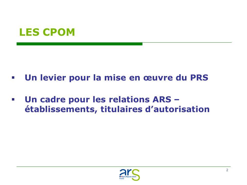 2 LES CPOM Un levier pour la mise en œuvre du PRS Un cadre pour les relations ARS – établissements, titulaires dautorisation