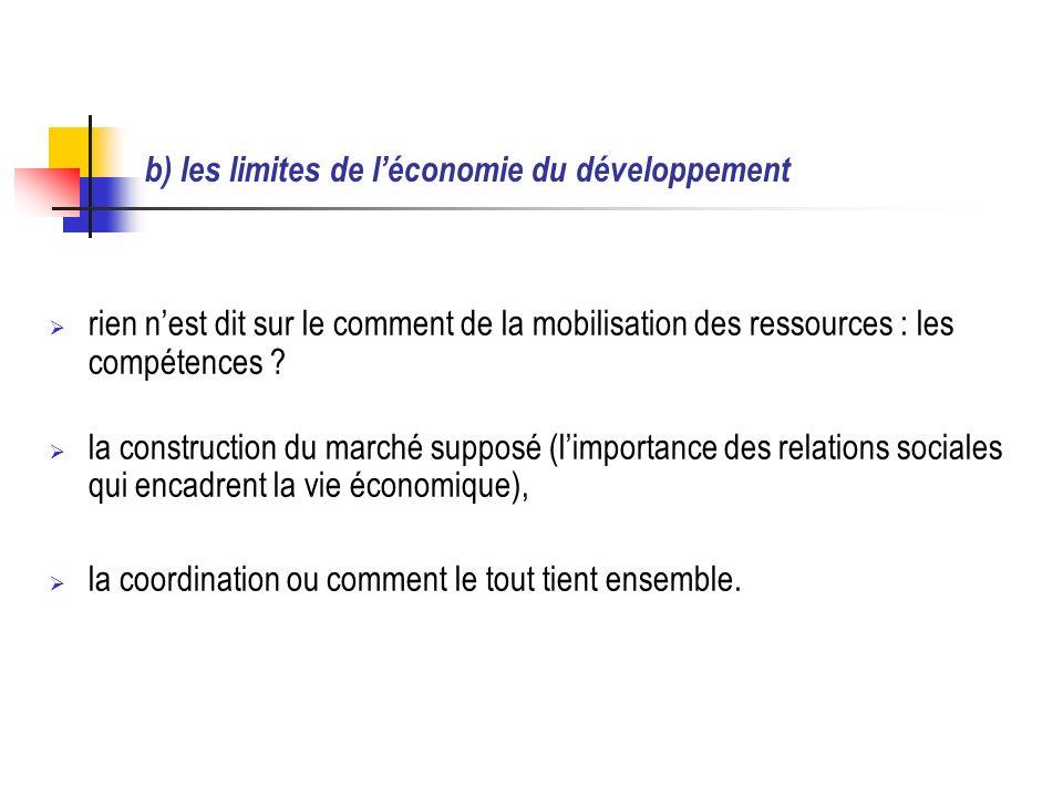 b) les limites de léconomie du développement rien nest dit sur le comment de la mobilisation des ressources : les compétences .