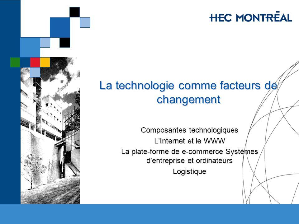 La technologie comme facteurs de changement Composantes technologiques LInternet et le WWW La plate-forme de e-commerce Systèmes dentreprise et ordina