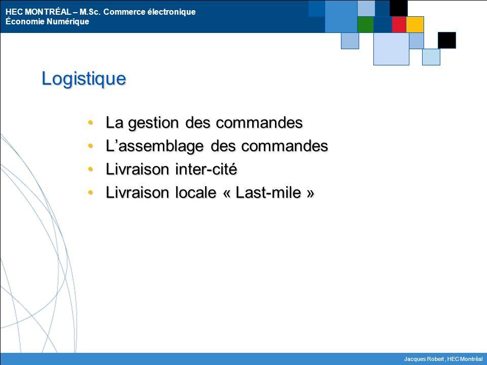 HEC MONTRÉAL – M.Sc. Commerce électronique Économie Numérique Jacques Robert, HEC Montréal Logistique La gestion des commandesLa gestion des commandes