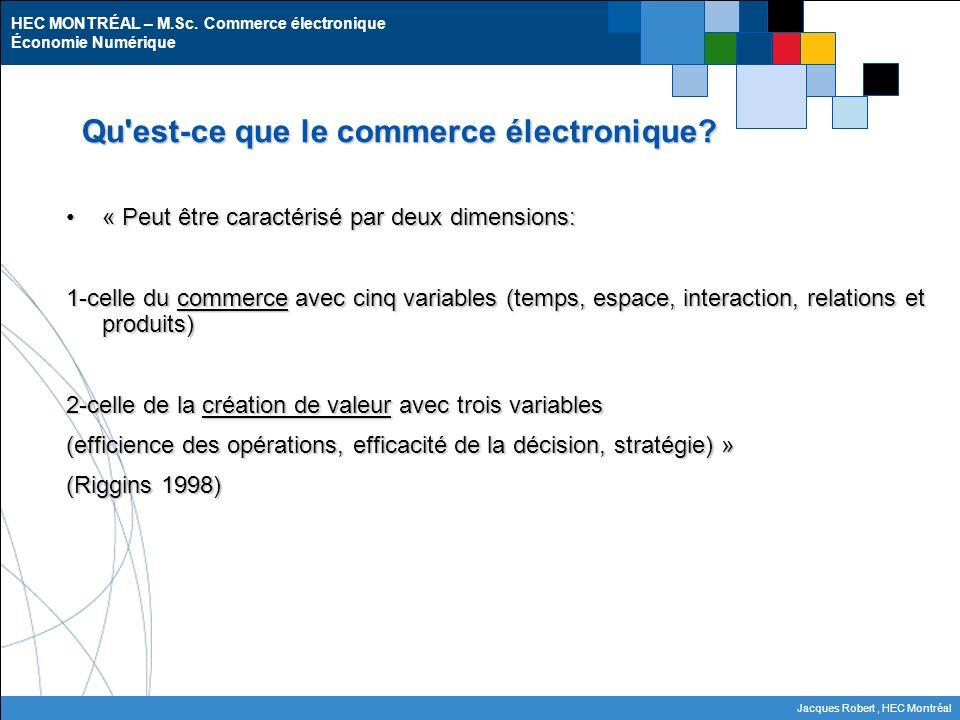 HEC MONTRÉAL – M.Sc. Commerce électronique Économie Numérique Jacques Robert, HEC Montréal Qu'est-ce que le commerce électronique? « Peut être caracté