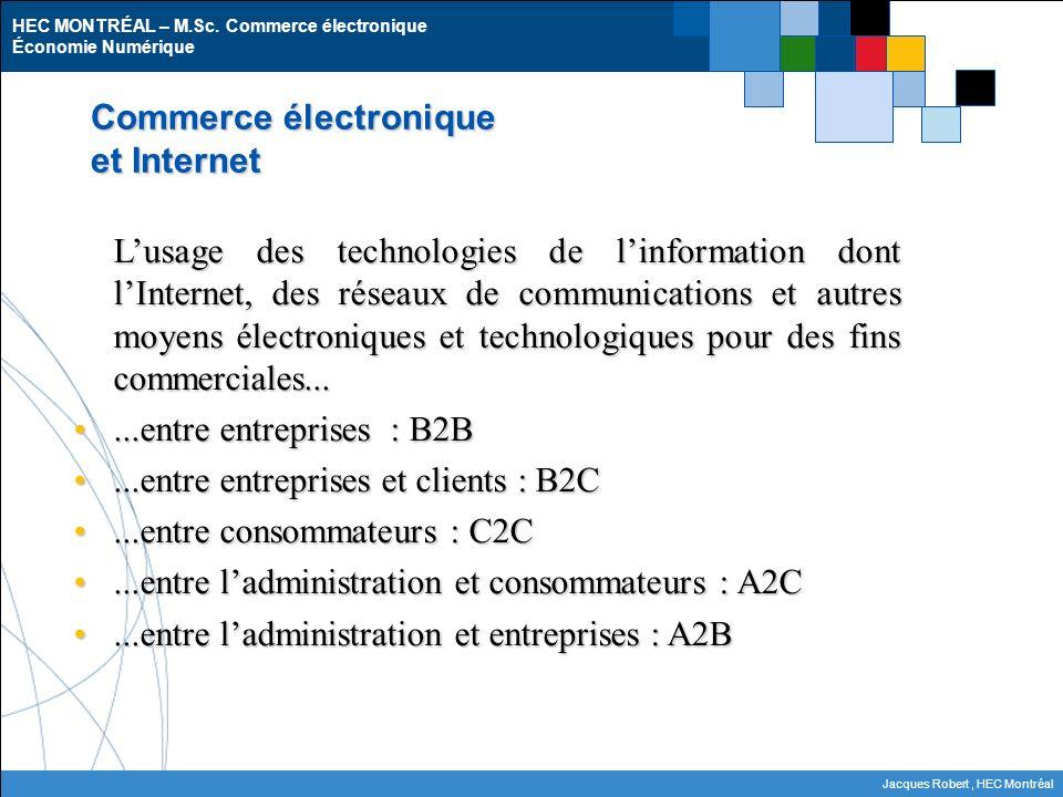 HEC MONTRÉAL – M.Sc. Commerce électronique Économie Numérique Jacques Robert, HEC Montréal Commerce électronique et Internet Lusage des technologies d