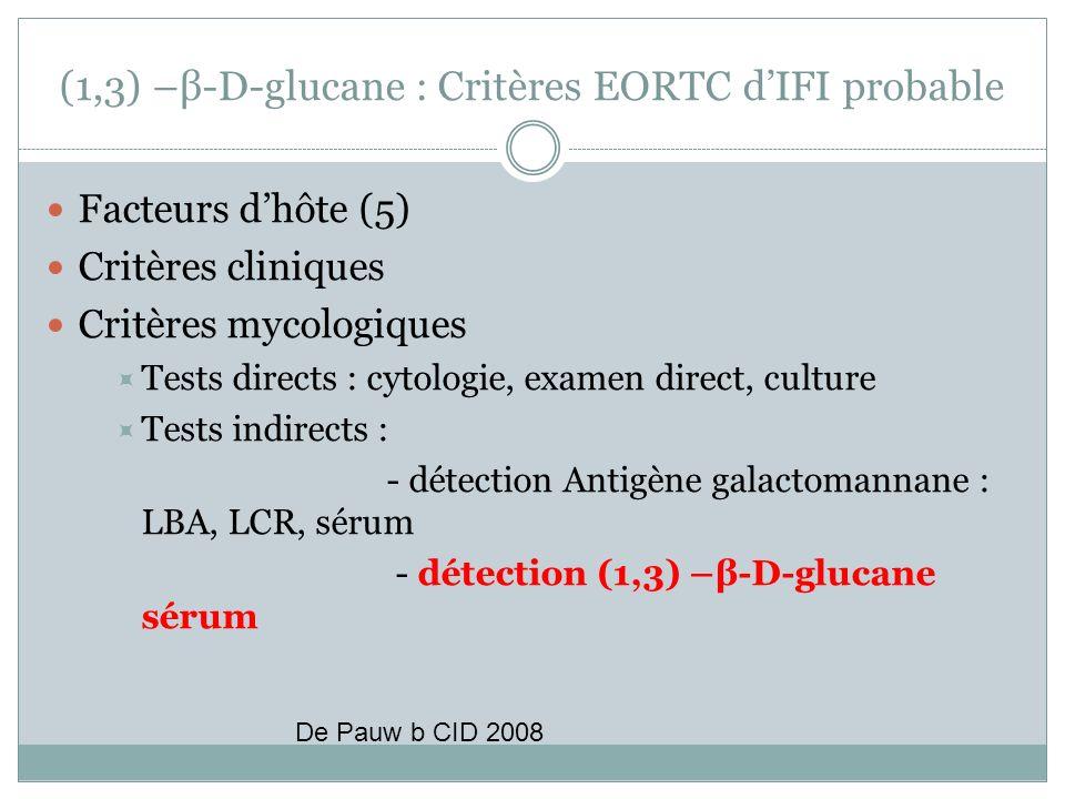 (1,3) –β-D-glucane : Critères EORTC dIFI probable Facteurs dhôte (5) Critères cliniques Critères mycologiques Tests directs : cytologie, examen direct