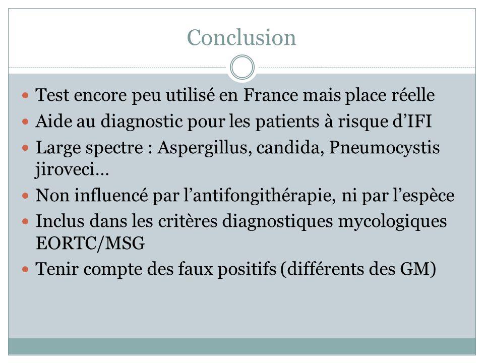 Conclusion Test encore peu utilisé en France mais place réelle Aide au diagnostic pour les patients à risque dIFI Large spectre : Aspergillus, candida, Pneumocystis jiroveci… Non influencé par lantifongithérapie, ni par lespèce Inclus dans les critères diagnostiques mycologiques EORTC/MSG Tenir compte des faux positifs (différents des GM)