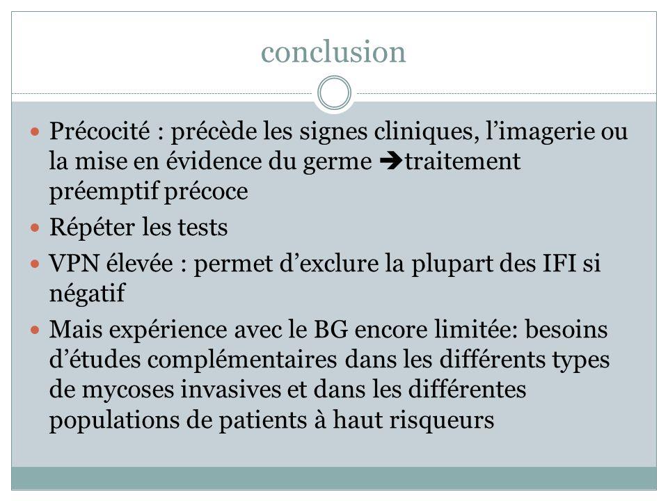 conclusion Précocité : précède les signes cliniques, limagerie ou la mise en évidence du germe traitement préemptif précoce Répéter les tests VPN élev