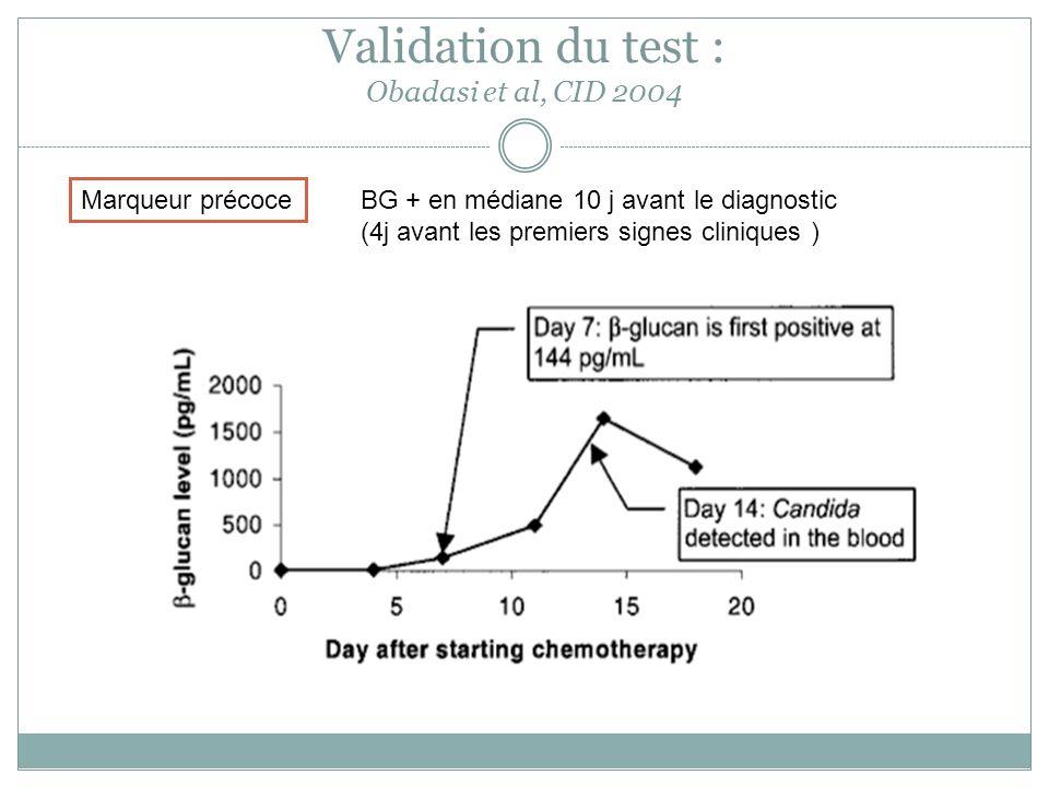 Validation du test : Obadasi et al, CID 2004 Marqueur précoce BG + en médiane 10 j avant le diagnostic (4j avant les premiers signes cliniques )
