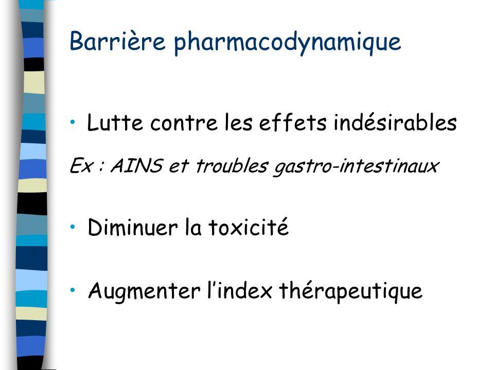 Barrière pharmacodynamique Lutte contre les effets indésirables Ex : AINS et troubles gastro-intestinaux Diminuer la toxicité Augmenter lindex thérape