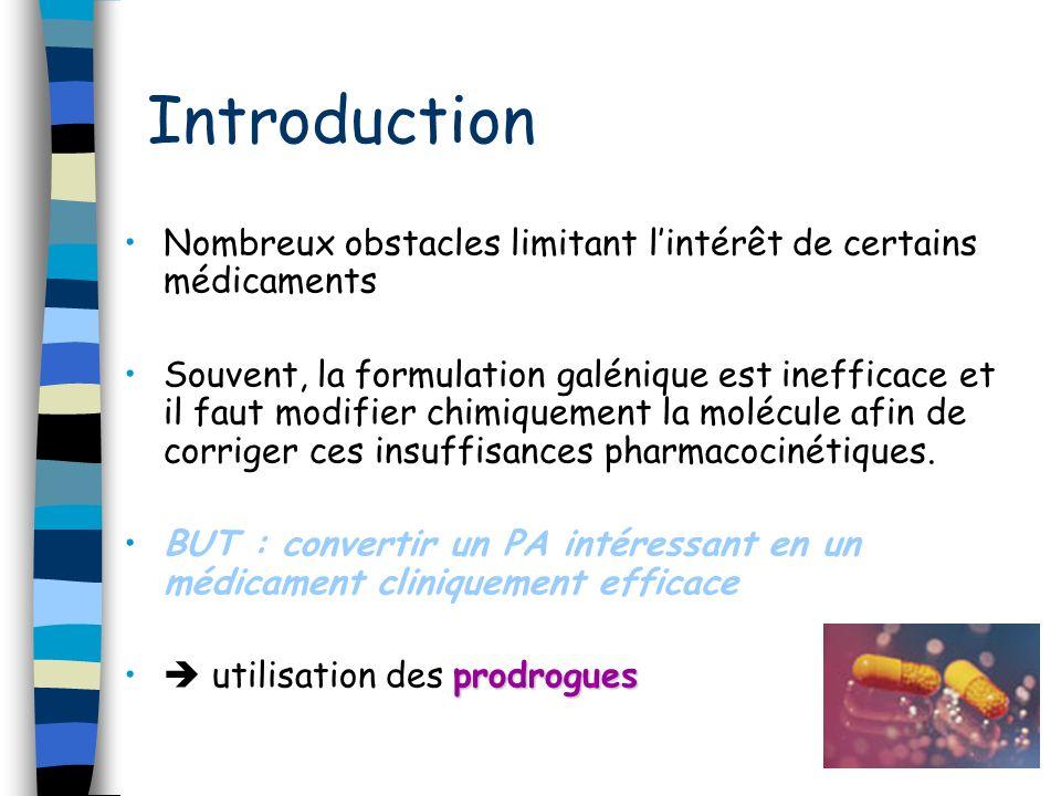 Introduction Nombreux obstacles limitant lintérêt de certains médicaments Souvent, la formulation galénique est inefficace et il faut modifier chimiqu