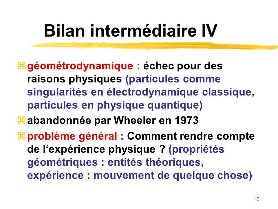 16 Bilan intermédiaire IV géométrodynamique : échec pour des raisons physiques (particules comme singularités en électrodynamique classique, particules en physique quantique) abandonnée par Wheeler en 1973 problème général : Comment rendre compte de lexpérience physique .