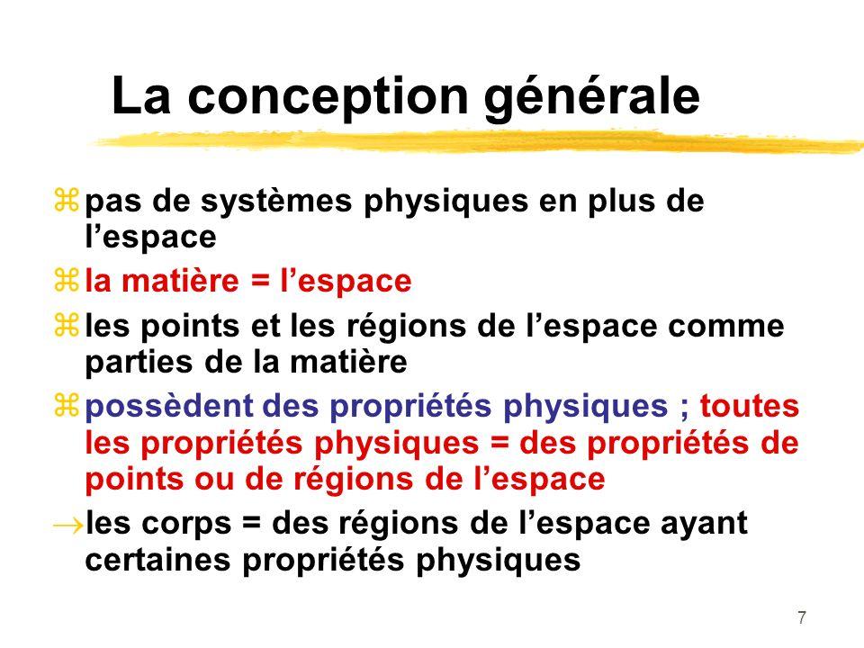7 La conception générale pas de systèmes physiques en plus de lespace la matière = lespace les points et les régions de lespace comme parties de la matière possèdent des propriétés physiques ; toutes les propriétés physiques = des propriétés de points ou de régions de lespace les corps = des régions de lespace ayant certaines propriétés physiques