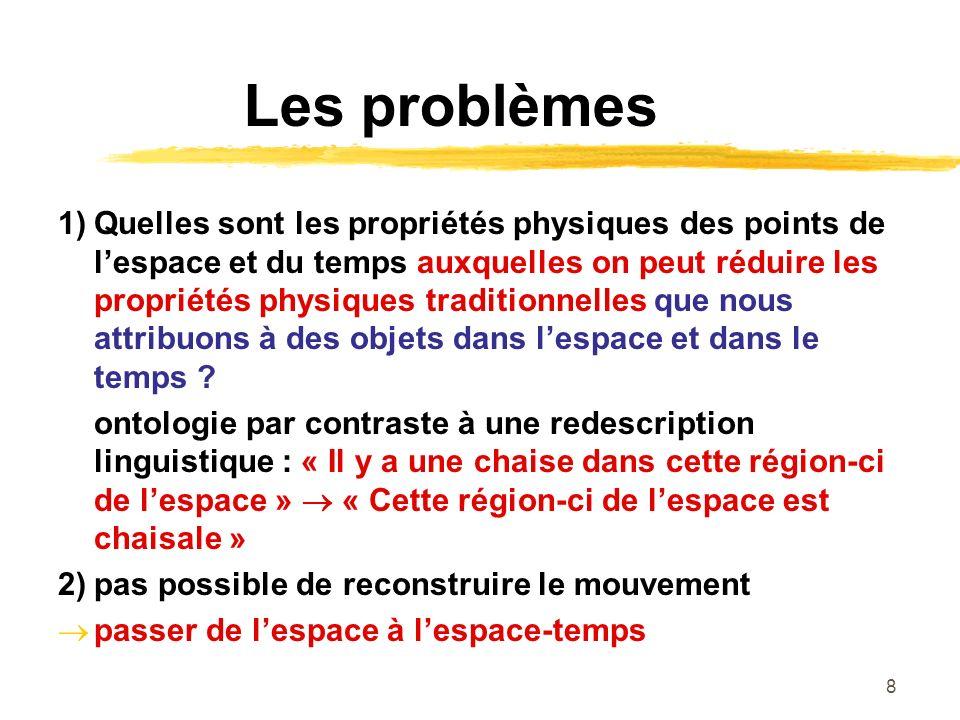 8 Les problèmes 1)Quelles sont les propriétés physiques des points de lespace et du temps auxquelles on peut réduire les propriétés physiques traditionnelles que nous attribuons à des objets dans lespace et dans le temps .