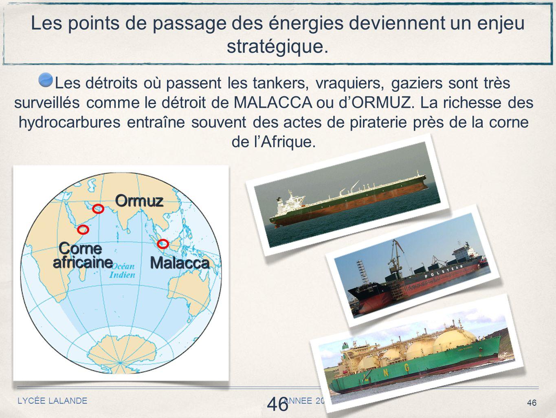 46 LYCÉE LALANDE ANNEE 2010 / 2011 46 Les points de passage des énergies deviennent un enjeu stratégique.