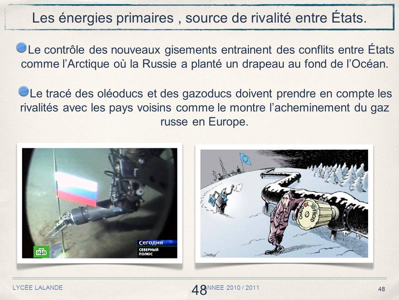48 LYCÉE LALANDE ANNEE 2010 / 2011 48 Les énergies primaires, source de rivalité entre États.