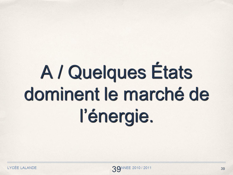 39 LYCÉE LALANDE ANNEE 2010 / 2011 39 A / Quelques États dominent le marché de lénergie.