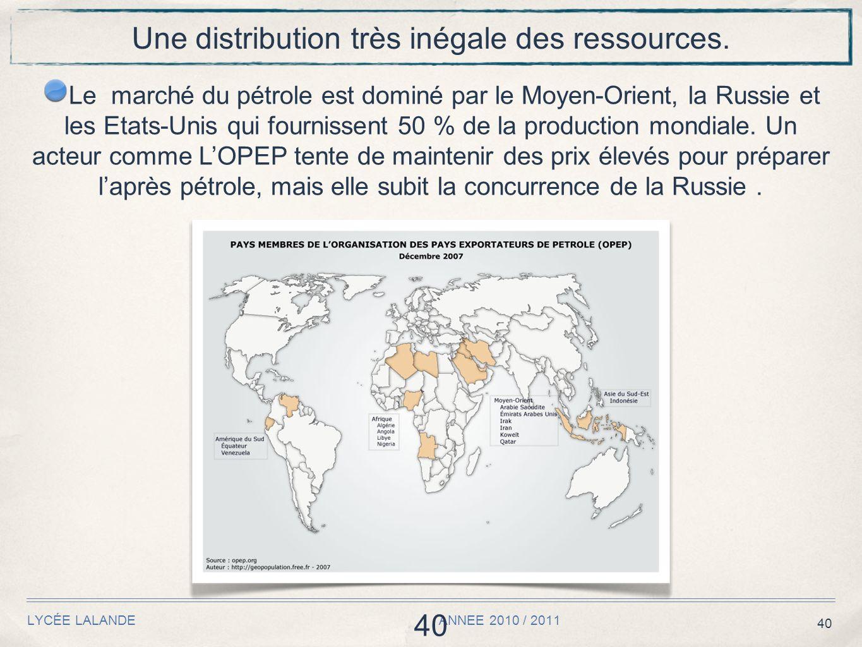 40 LYCÉE LALANDE ANNEE 2010 / 2011 40 Une distribution très inégale des ressources.