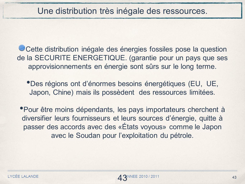 43 LYCÉE LALANDE ANNEE 2010 / 2011 43 Une distribution très inégale des ressources.