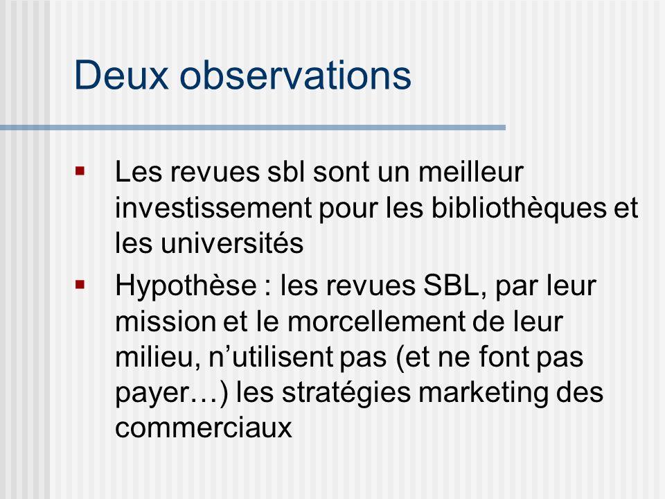 Deux observations Les revues sbl sont un meilleur investissement pour les bibliothèques et les universités Hypothèse : les revues SBL, par leur mission et le morcellement de leur milieu, nutilisent pas (et ne font pas payer…) les stratégies marketing des commerciaux