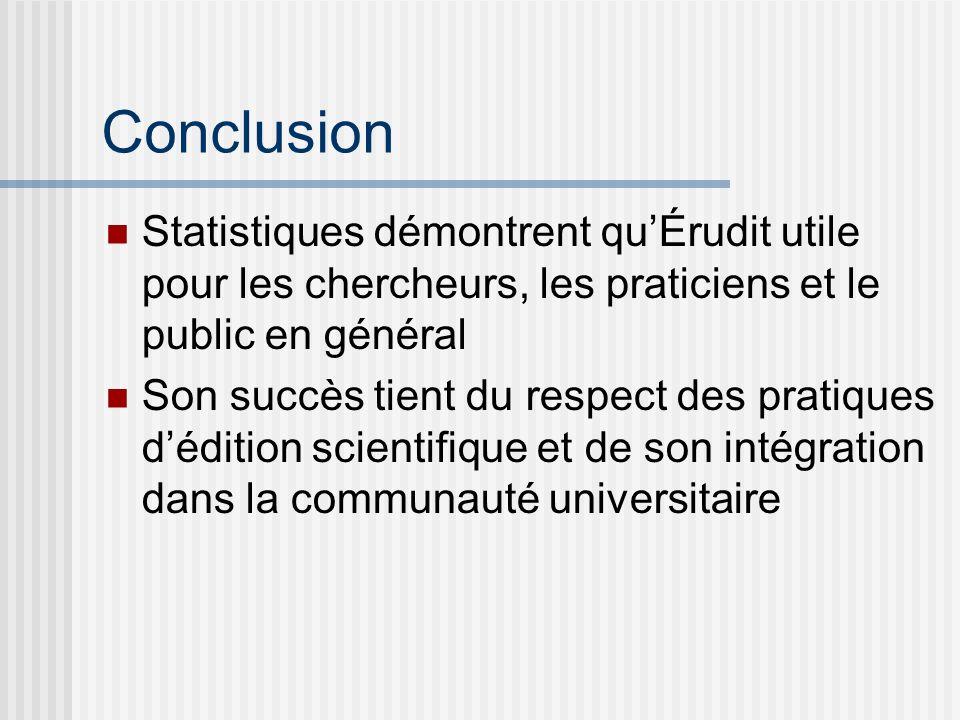 Conclusion Statistiques démontrent quÉrudit utile pour les chercheurs, les praticiens et le public en général Son succès tient du respect des pratiques dédition scientifique et de son intégration dans la communauté universitaire