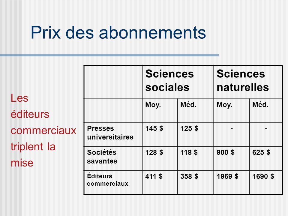 Prix des abonnements Les éditeurs commerciaux triplent la mise Sciences sociales Sciences naturelles Moy.Méd.Moy.Méd.