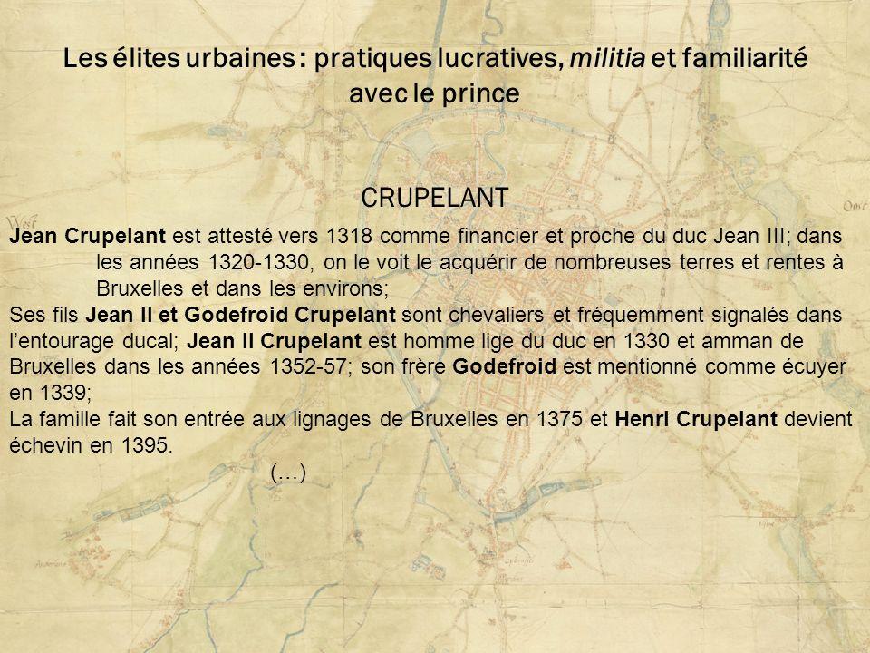 Les élites urbaines : pratiques lucratives, militia et familiarité avec le prince CRUPELANT Jean Crupelant est attesté vers 1318 comme financier et pr