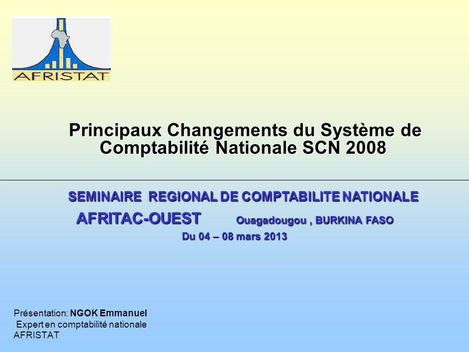 PLAN DE LA PRESENTATION Introduction Processus de révision du SCN 93 Principaux changements Conclusion 11 22 33 44