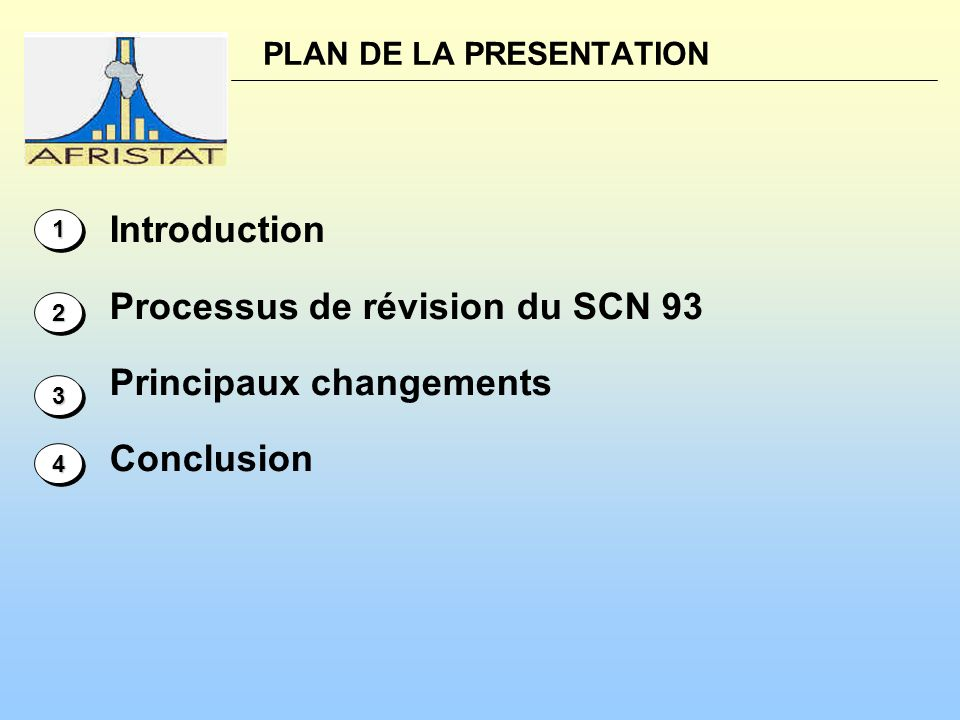 PLAN DE LA PRESENTATION Introduction Processus de révision du SCN 93 Principaux changements Conclusion 11 22 33 44