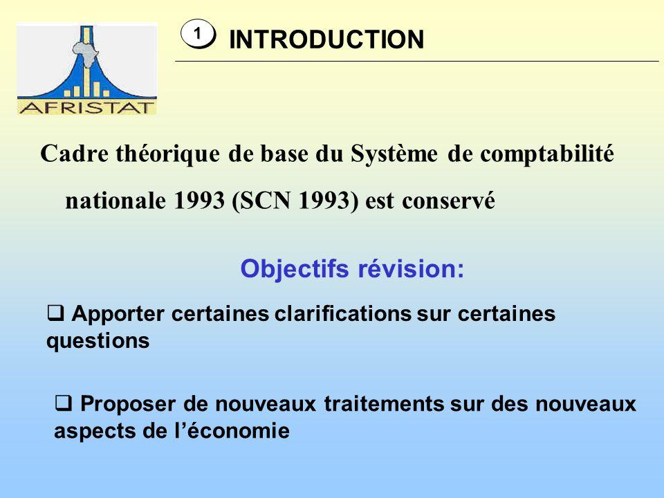 Objectifs révision (suite): INTRODUCTION 11 sadapter aux développements de lenvironnement économique, sadapter aux développements de lenvironnement économique, aux avancées de la recherche méthodologique et aux avancées de la recherche méthodologique et aux besoins des utilisateurs aux besoins des utilisateurs