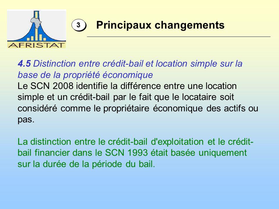 33 4.5 Distinction entre crédit-bail et location simple sur la base de la propriété économique Le SCN 2008 identifie la différence entre une location simple et un crédit-bail par le fait que le locataire soit considéré comme le propriétaire économique des actifs ou pas.
