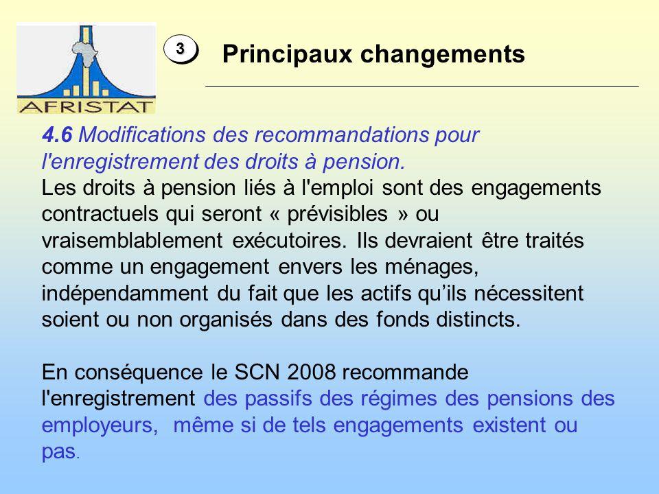 Principaux changements 33 4.6 Modifications des recommandations pour l enregistrement des droits à pension.
