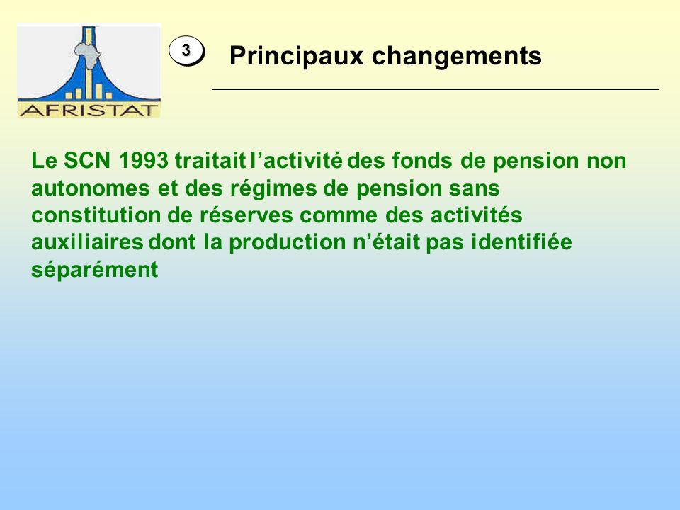 Le SCN 1993 traitait lactivité des fonds de pension non autonomes et des régimes de pension sans constitution de réserves comme des activités auxiliaires dont la production nétait pas identifiée séparément 33 Principaux changements