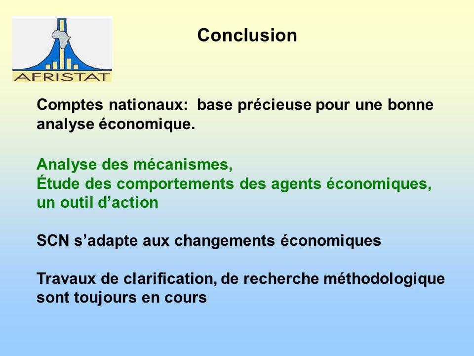 Conclusion Comptes nationaux: base précieuse pour une bonne analyse économique.