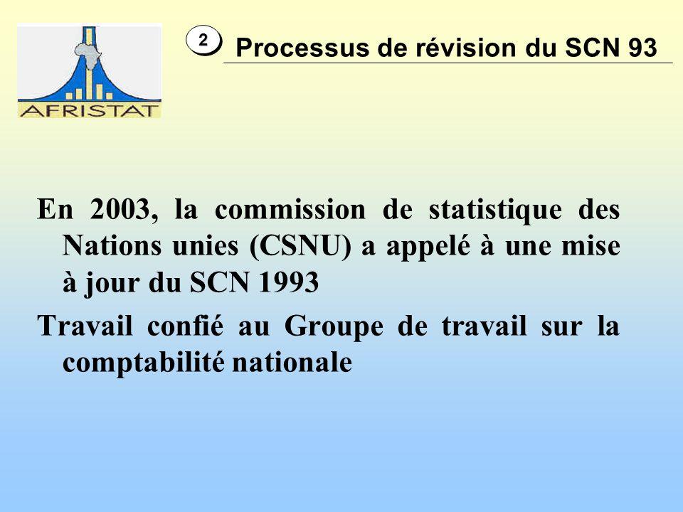 En 2003, la commission de statistique des Nations unies (CSNU) a appelé à une mise à jour du SCN 1993 Travail confié au Groupe de travail sur la comptabilité nationale Processus de révision du SCN 93 22