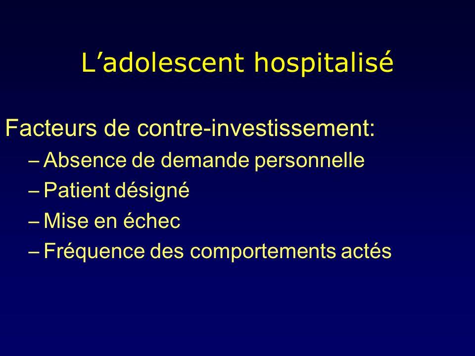 Ladolescent hospitalisé Facteurs de contre-investissement: –Absence de demande personnelle –Patient désigné –Mise en échec –Fréquence des comportements actés