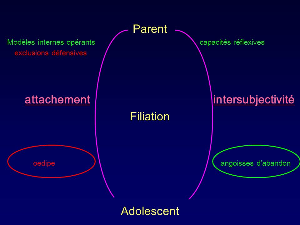 Parent Modèles internes opérants capacités réflexives exclusions défensives attachement intersubjectivité Filiation oedipe angoisses dabandon Adolesce