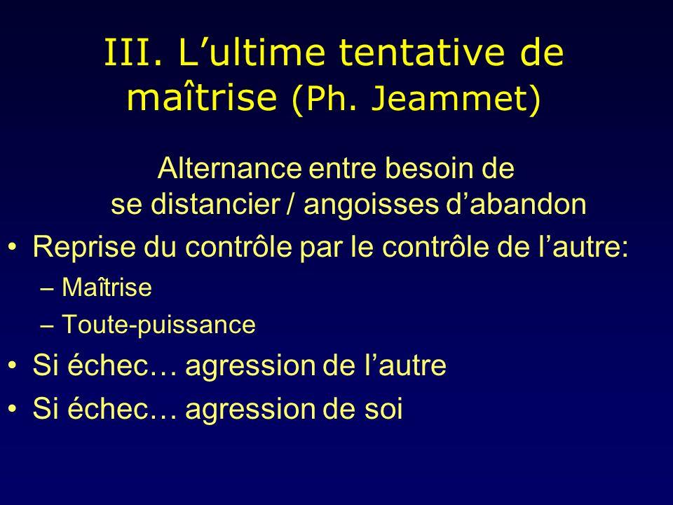 III.Lultime tentative de maîtrise (Ph.