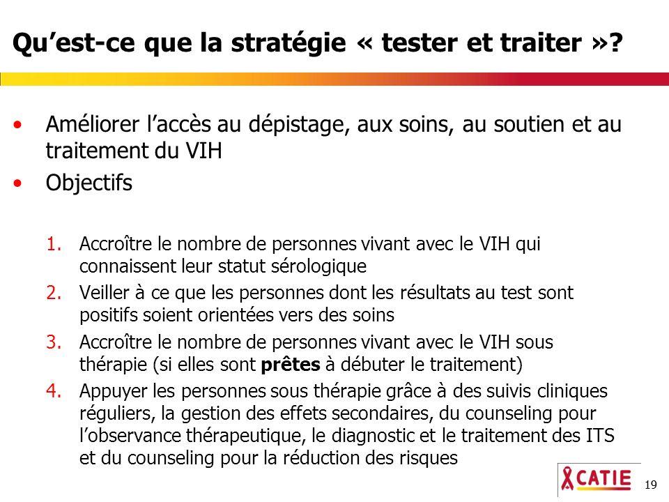 19 Quest-ce que la stratégie « tester et traiter »? Améliorer laccès au dépistage, aux soins, au soutien et au traitement du VIH Objectifs 1.Accroître