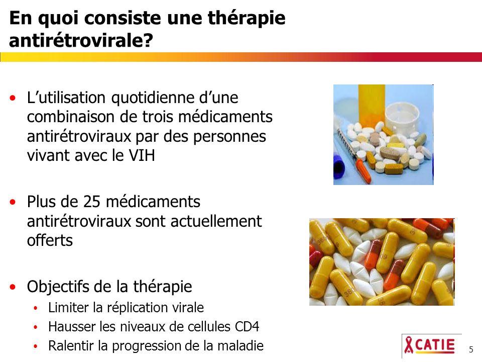 5 En quoi consiste une thérapie antirétrovirale? Lutilisation quotidienne dune combinaison de trois médicaments antirétroviraux par des personnes viva
