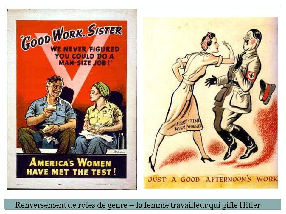 Renversement de rôles de genre – la femme travailleur qui gifle Hitler