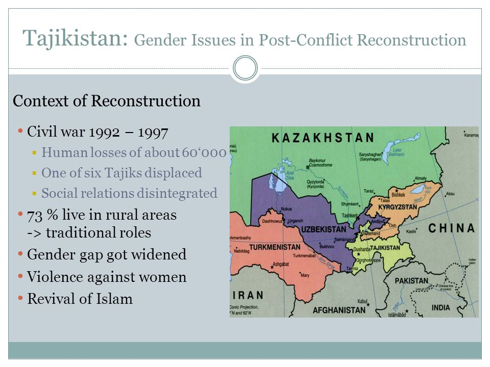 Tajikistan: Gender Issues in Post-Conflict Reconstruction Context of Reconstruction Civil war 1992 – 1997 Human losses of about 60000 One of six Tajiks displaced Social relations disintegrated 73 % live in rural areas -> traditional roles Gender gap got widened Violence against women Revival of Islam