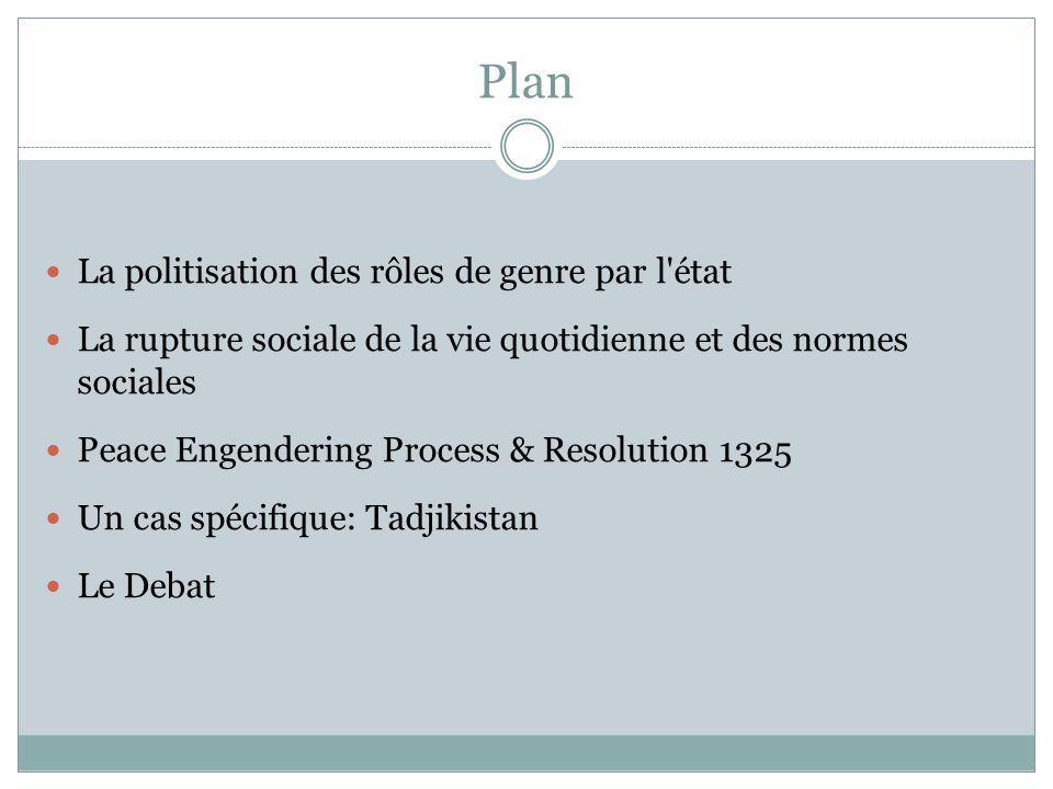 Plan La politisation des rôles de genre par l'état La rupture sociale de la vie quotidienne et des normes sociales Peace Engendering Process & Resolut