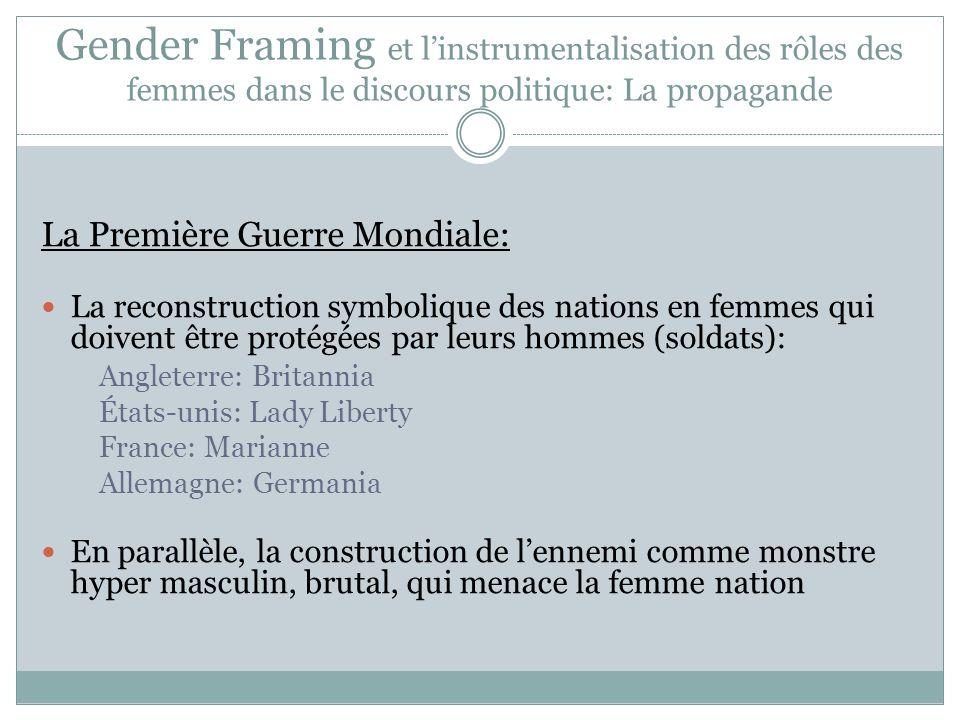 Gender Framing et linstrumentalisation des rôles des femmes dans le discours politique: La propagande La Première Guerre Mondiale: La reconstruction s
