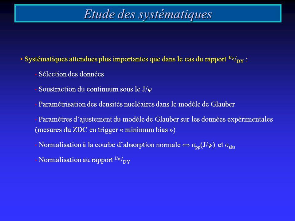 Etude des systématiques Systématiques attendues plus importantes que dans le cas du rapport J/ / DY : Sélection des données Soustraction du continuum sous le J/ Paramétrisation des densités nucléaires dans le modèle de Glauber Paramètres dajustement du modèle de Glauber sur les données expérimentales (mesures du ZDC en trigger « minimum bias ») Normalisation à la courbe dabsorption normale pp (J/ ) et abs Normalisation au rapport J/ / DY