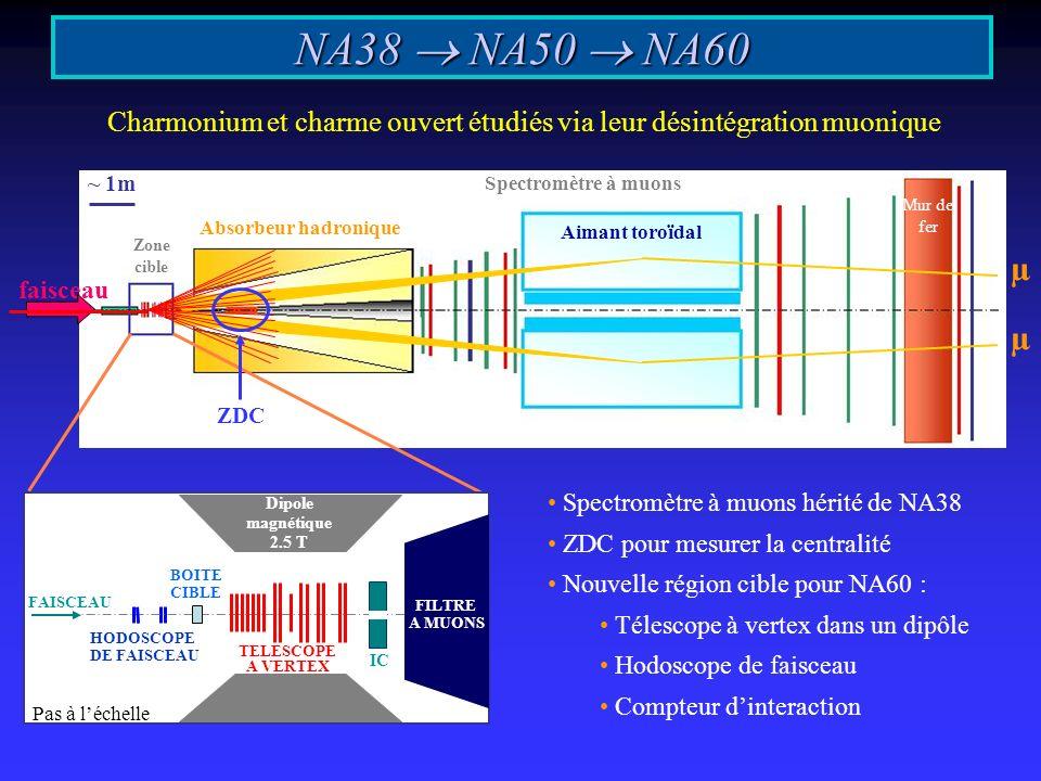 ~ 1m Spectromètre à muons Aimant toroïdal Mur de fer Absorbeur hadronique Zone cible faisceau NA38 NA50 NA60 Charmonium et charme ouvert étudiés via leur désintégration muonique µ µ FILTRE A MUONS HODOSCOPE DE FAISCEAU BOITE CIBLE TELESCOPE A VERTEX Dipole magnétique 2.5 T FAISCEAU IC Pas à léchelle Spectromètre à muons hérité de NA38 ZDC pour mesurer la centralité Nouvelle région cible pour NA60 : Télescope à vertex dans un dipôle Hodoscope de faisceau Compteur dinteraction ZDC