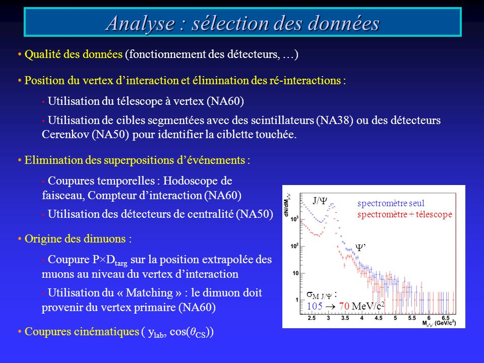 Analyse : sélection des données Qualité des données (fonctionnement des détecteurs, …) Position du vertex dinteraction et élimination des ré-interactions : Utilisation du télescope à vertex (NA60) Utilisation de cibles segmentées avec des scintillateurs (NA38) ou des détecteurs Cerenkov (NA50) pour identifier la ciblette touchée.