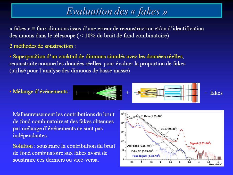 Evaluation des « fakes » « fakes » faux dimuons issus dune erreur de reconstruction et/ou didentification des muons dans le télescope ( < 10% du bruit de fond combinatoire) 2 méthodes de soustraction : Superposition dun cocktail de dimuons simulés avec les données réelles, reconstruite comme les données réelles, pour évaluer la proportion de fakes (utilisé pour lanalyse des dimuons de basse masse) Mélange dévénements : Malheureusement les contributions du bruit de fond combinatoire et des fakes obtenues par mélange dévénements ne sont pas indépendantes.