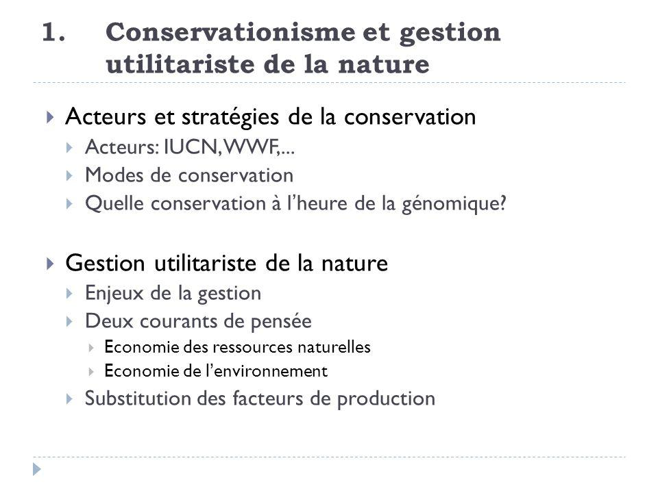 1. Conservationisme et gestion utilitariste de la nature Acteurs et stratégies de la conservation Acteurs: IUCN, WWF,... Modes de conservation Quelle