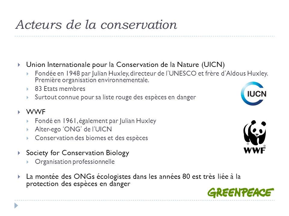 Acteurs de la conservation Union Internationale pour la Conservation de la Nature (UICN) Fondée en 1948 par Julian Huxley, directeur de lUNESCO et frère dAldous Huxley.