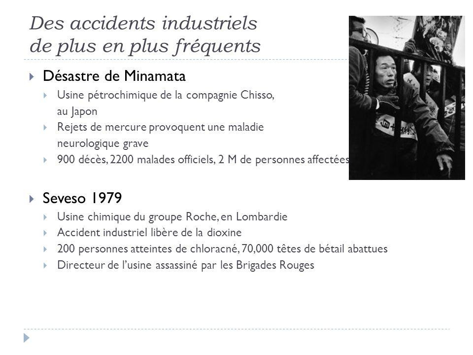Des accidents industriels de plus en plus fréquents Désastre de Minamata Usine pétrochimique de la compagnie Chisso, au Japon Rejets de mercure provoq