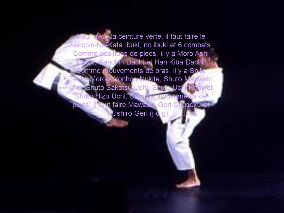 Pour avoir la ceinture verte, il faut faire le Sanchin-No-Kata ibuki, no ibuki et 6 combats. Comme positions de pieds, il y a Moro Ashi Dachi, Sanchin