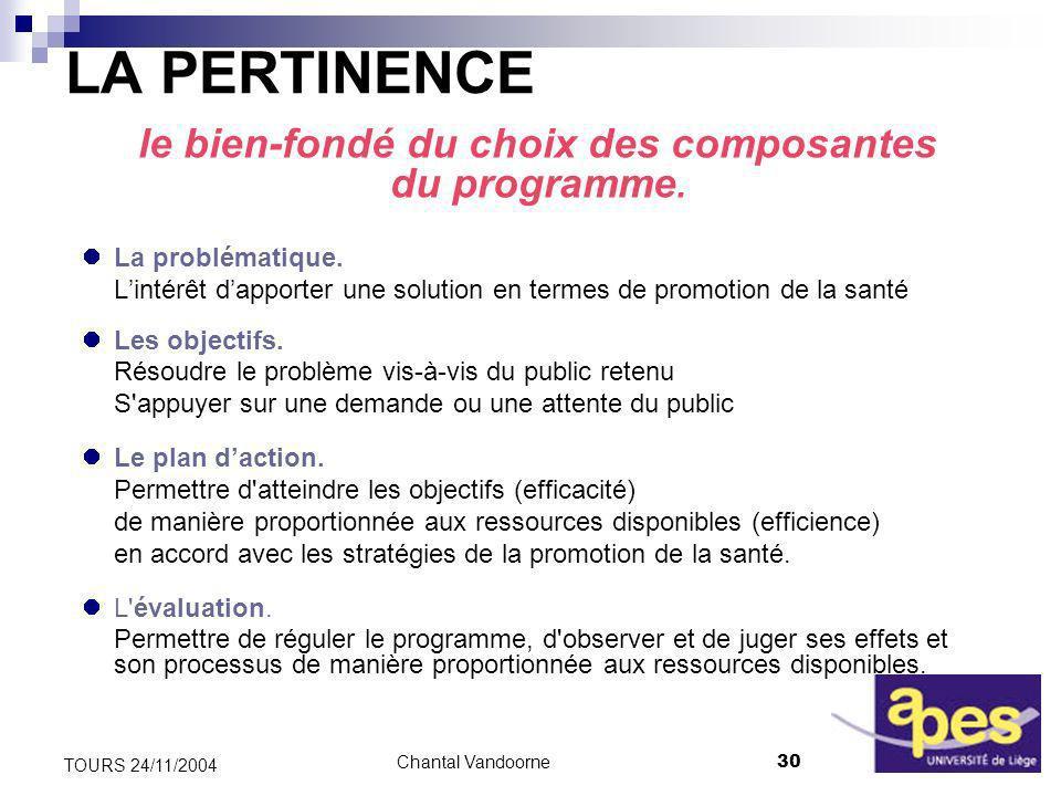 Chantal Vandoorne30 TOURS 24/11/2004 LA PERTINENCE le bien-fondé du choix des composantes du programme.